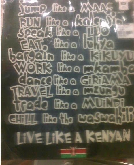 kenyan tribal stereotypes placard
