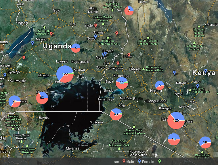 525 stories about street children in Kenya and Uganda. Click for the batchgeo interactive version.