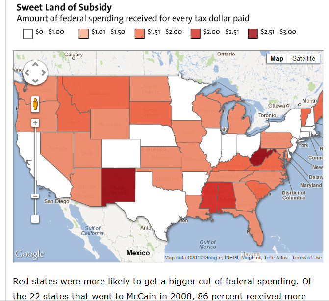 Texas is only one of three red states whose voters aren't panhandling for Federal subsidies. New Mexico and West Virginia  are the most heavily subsidized blue states.