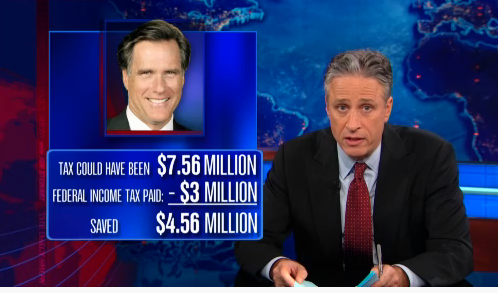 The Daily Show with Jon Stewart - romney saved 4M taxes -Comedy Central