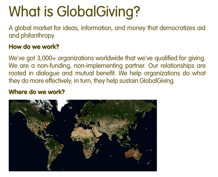 What is GlobalGiving
