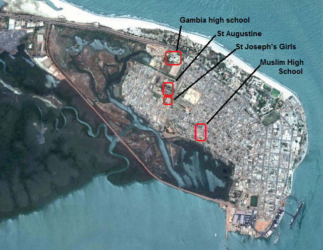 Banjul Area High Schools Map