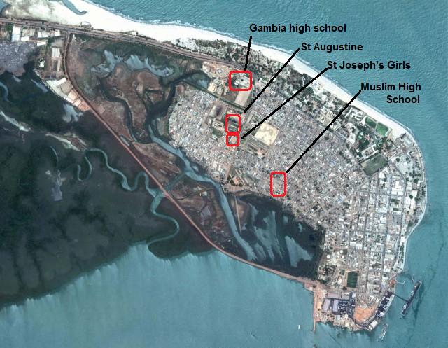 Banjul Area High Schools Map