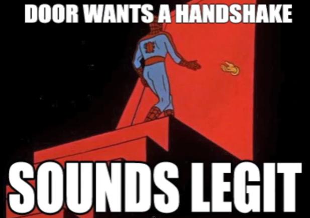 spiderman handshake door